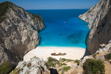 Beautiful beach in the shipwreck bay, Zakynthos photo