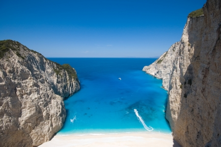 Beautiful beach in the shipwreck bay, Zakynthos photo