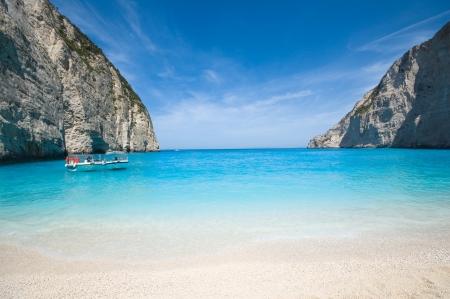 Beautiful beach in the smuggler s bay, Zakynthos photo