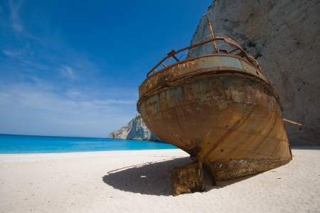Smuggler s shipwreck in Navagio, Zakynthos photo