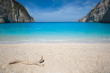 Beautiful beach in the smuggler s bay, Zakynthos photo