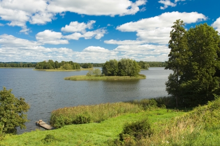 View of beautiful lake in Masuria district, Poland