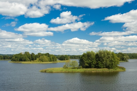 masuria: View of small islands on the lake in Masuria district, Poland