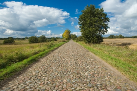 cobbled: Old cobblestone road through the fields, Masuria, Poland