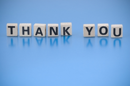 Text THANK YOU made of letters on the wooden blocks photo