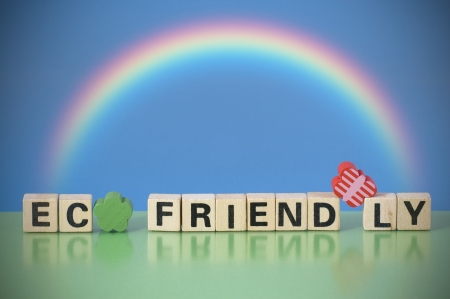 Text ECO FRIENDLY made of letters on wooden blocks  Concept of ecological, healthy world Stock Photo - 18199263