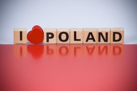 polish flag: Text I LOVE POLAND on Polish flag colors background