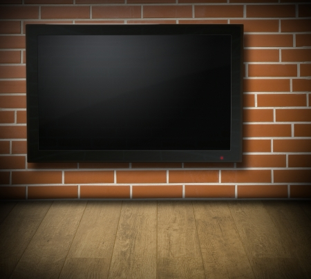 Room with blank TV screen on red brick wall - for Your text or picture photo