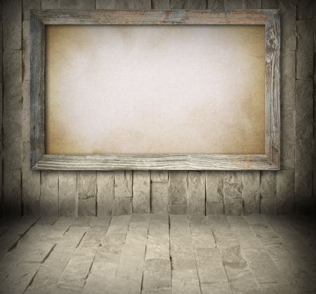 wooden frame: Blank old wooden board on stone wall background Stock Photo