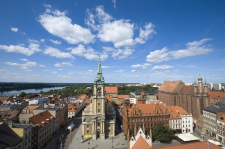 torun: Panoramic view of Torun taken from the tower of the town hall, Poland Stock Photo