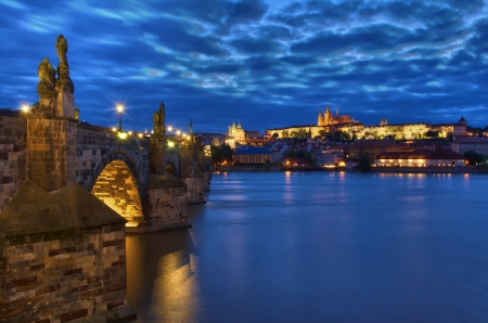 Night view of the Charles Bridge and Castle in Prague, Czech Republic