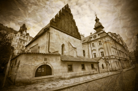 jewish town: Old-New Synagogue and Jewish Town Hall in Prague, Czech Republic