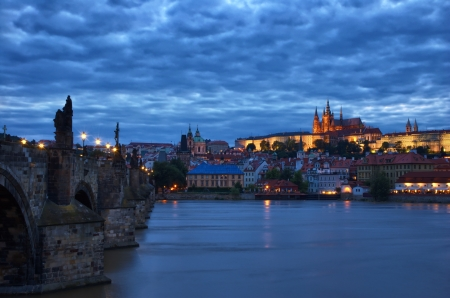 charles bridge: Night view of the Charles Bridge and Castle in Prague, Czech Republic Editorial