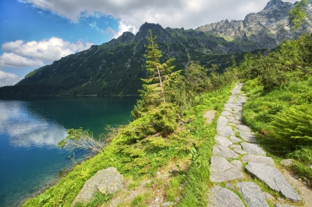 morskie: Path by Morskie Oko lake in Tatra mountains, Poland