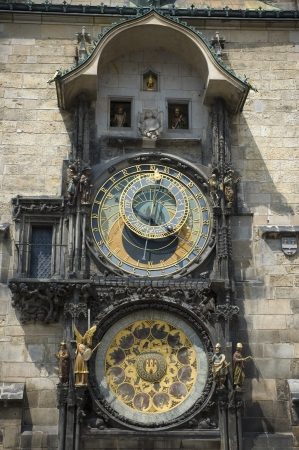 Orloj - Prague astronomical clock on the wall of town hall during performance photo