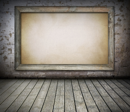 Blank old board on damaged brick wall background photo