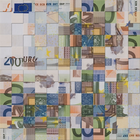 economic growth: Financial concept - abstract European currency banknotes puzzle