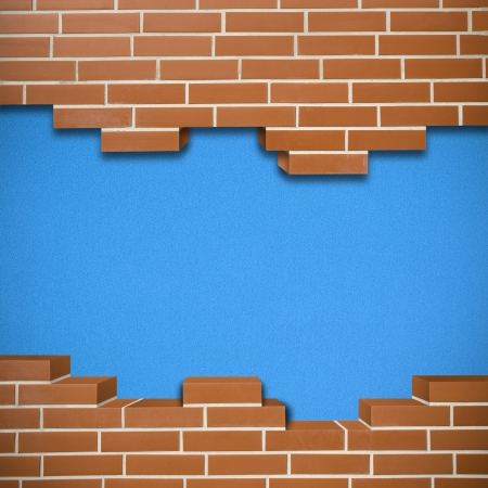 Broken red brickwall with cork blue texture in the background Stock Photo - 24155530