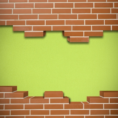 Broken red brickwall with cork green texture in the background Stock Photo - 24155531