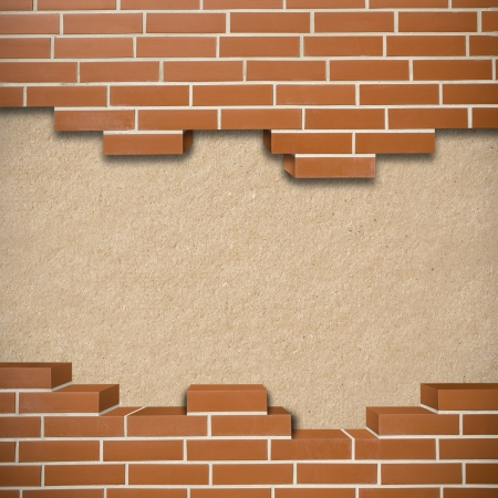 Broken red brickwall with hardboard texture in the background Stock Photo - 24155532
