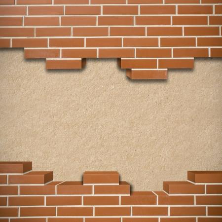 hardboard: Broken red brickwall with hardboard texture in the background