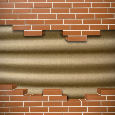 Broken red brickwall with corrugated cardboard texture in the background Stock Photo - 24155533