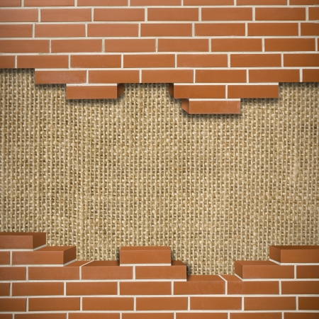 Broken red brickwall with sack texture in the background Stock Photo - 24155535