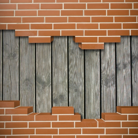 Broken red brickwall with old wooden planks in the background Stock Photo - 24155536
