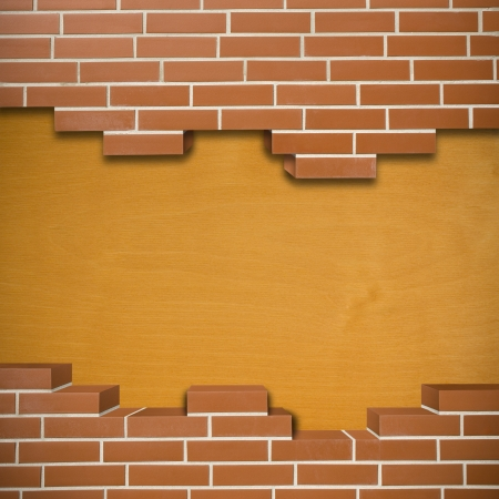 Broken red brickwall with wooden texture in the background Stock Photo - 24155537