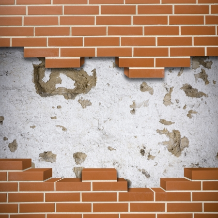 Broken red brickwall with grunge wall in the background Stock Photo - 24155539