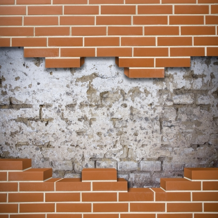 Broken red brickwall with grunge wall in the background Stock Photo - 24155625
