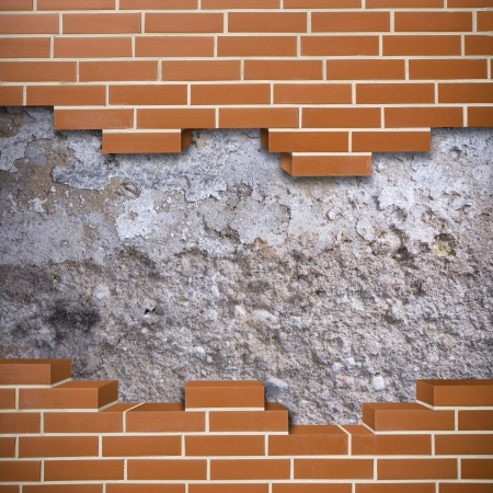 Broken red brickwall with grunge wall in the background Stock Photo - 24155626