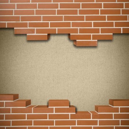 Broken red brickwall with canvas texture in the background Stock Photo - 24155631