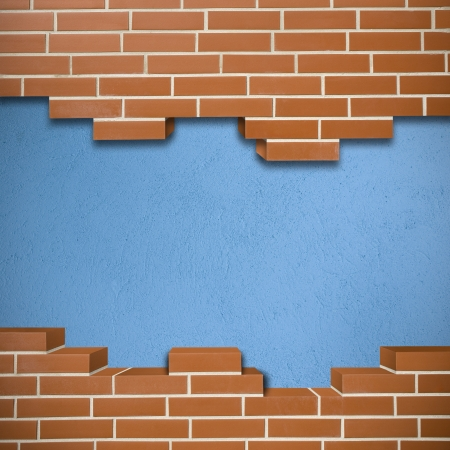 Broken red brickwall with blue concrete texture in the background Stock Photo - 24155632