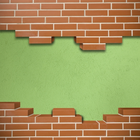 Broken red brickwall with green concrete texture in the background Stock Photo - 24155633