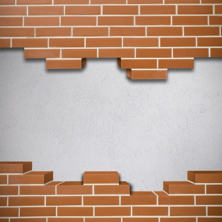 Broken red brickwall with white concrete texture in the background Stock Photo - 24155634