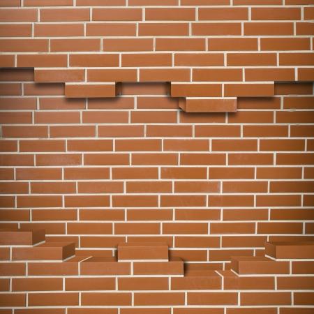 Broken red brickwall background Stock Photo - 24155635