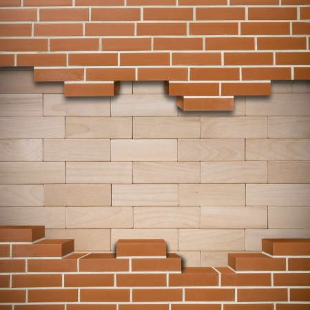 Broken red brickwall with abstract wooden texture in the background Stock Photo - 24155636