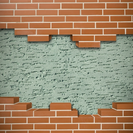 Broken red brickwall with green mortar wall in the background Stock Photo - 24155637