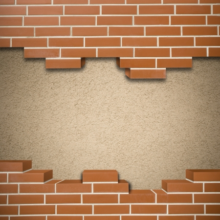 Broken red brickwall with pink mortar wall in the background Stock Photo - 24155638