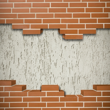 Broken red brickwall with gray mortar wall in the background Stock Photo - 24155639