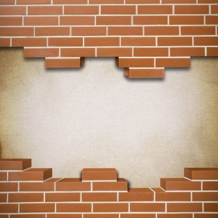 Broken red brickwall with canvas texture in the background Stock Photo - 24155641