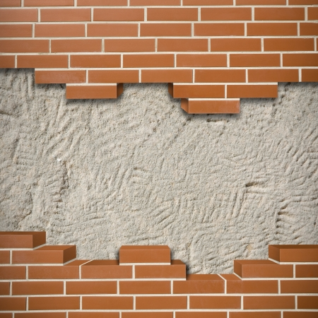 Broken red brickwall with grunge wall in the background Stock Photo - 24204946