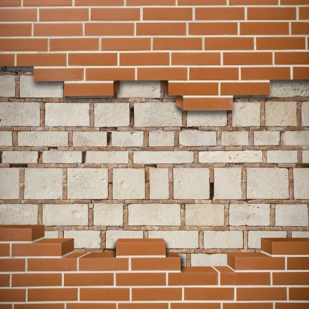 Broken red brickwall with grunge wall in the background Stock Photo - 24204947