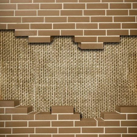 Broken red brickwall with sack texture in the background Stock Photo - 24204977