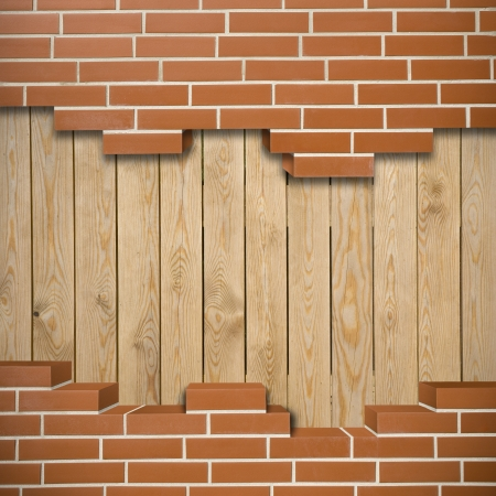 Broken red brickwall with wood boards in the background Stock Photo - 24205611