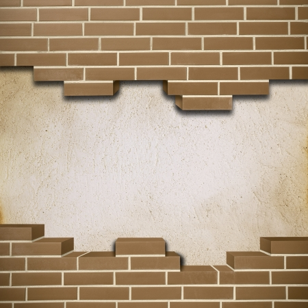 Vintage red brickwall with concrete texture in the background Stock Photo - 24205613