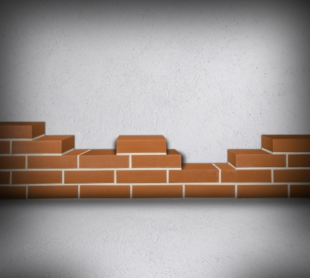 Room with partially built red brick wall and white concrete  Stock Photo - 24461770