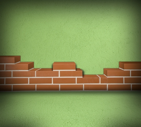 Room with partially built red brick wall and green concrete  Stock Photo - 24461771