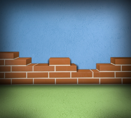 Room with partially built red brick wall and blue concrete Stock Photo - 24461772